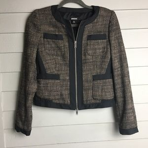 DKNY wool blend cropped structures blazer